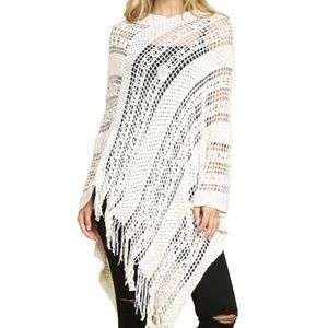 NWT! OS Cream crochet poncho sweater with fringe